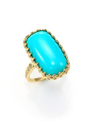 Ila Macey Turquoise, Diamond & 14k Yellow Gold Rectangle Cabochon Ring In Gold-turquoise