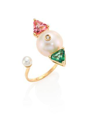 Delfina Delettrez Diamond, Pearl, Topaz & 18k Gold Complex Gemetries Ring In Gold-multi