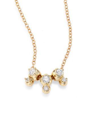 Mizuki Sea Of Beauty Three Drop Diamond & 14k Yellow Gold Pendant Necklace