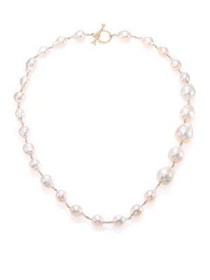 Mizuki 17mm White Baroque Akoya Pearl, Diamond & 14k Yellow Gold Graduated Necklace In White-gold