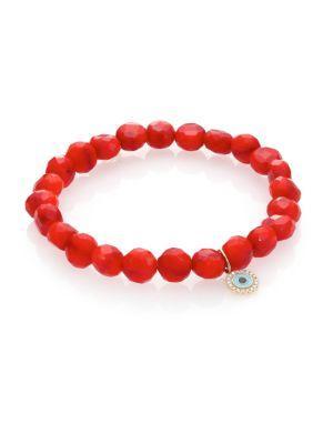 Sydney Evan Bright Coral Bracelet In Red