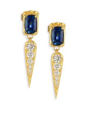 Ila Claude Diamond, Blue Sapphire & 14k Yellow Gold Drop Earrings In Gold-blue Sapphire