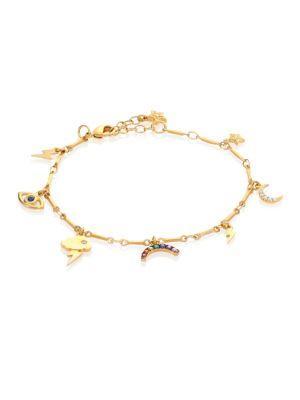 Ileana Makri All Weather Crystal Charm Bracelet In Gold