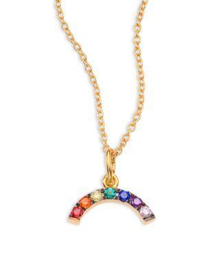 Ileana Makri Mini Rainbow Crystal Pendant Necklace In Gold-multi