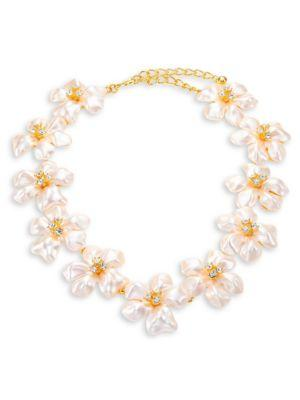 Kenneth Jay Lane Crystal & Faux-pearl Flower Necklace In Pearl-gold