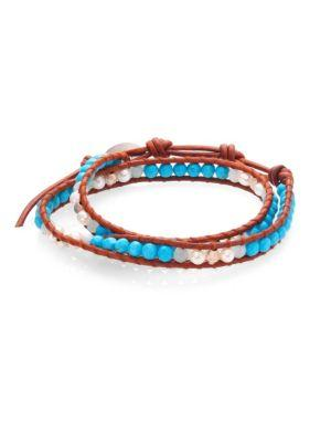 Chan Luu Pearl, Turquoise & Amazonite Leather Wrap Bracelet In Turquoise-brown