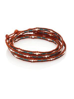 Chan Luu Japanese Seed Bead & Pearl Wrap Bracelet In Brown-turquoise