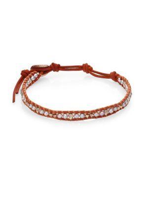 Chan Luu 3mm Cultured Freshwater Pearl & Leather Single Strand Bracelet In Brown-grey