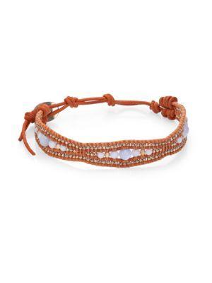 Chan Luu Blue Lace Agate & Leather Bracelet