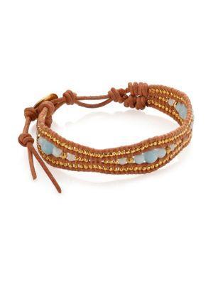 Chan Luu Amazonite & Leather Bracelet In Blue-brown