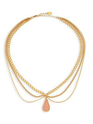 Chan Luu Layered Chain & Agate Necklace In Gold