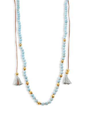 Chan Luu Tasseled Amazonite Long Necklace In Light Blue