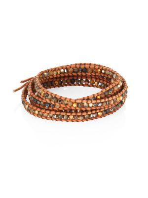 Chan Luu Abalone, Crystal & Leather Beaded Wrap Bracelet In Bronze