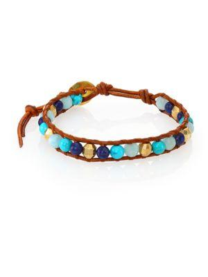 Chan Luu Lapis Lazuli, Turquoise, Amazonite & Leather Beaded Bracelet In Tan-blue