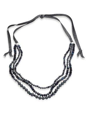 Chan Luu 6mm Grey Potato Pearl, 9-10mm Cultured Freshwater Pearl, Pyrite & Mystic Lab Tie Necklace In Blue