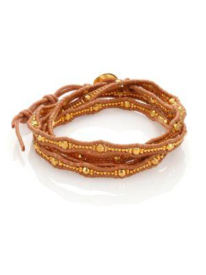 Chan Luu Beaded Leather Multi-row Wrap Bracelet In Gold-natural