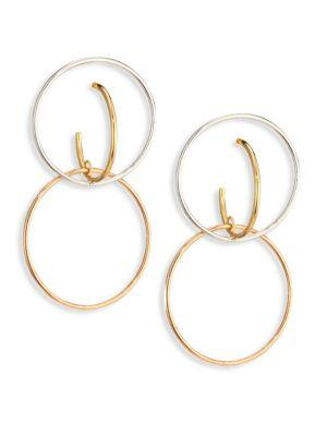 Charlotte Chesnais Galilea Medium Tri-tone Drop Earrings In Silver-gold