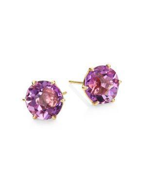 Ippolita 18k Gold Rock Candy Medium Round Stud Earrings In Dark Amethyst In Gold-purple
