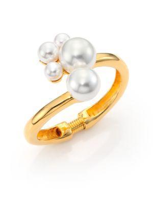 Kenneth Jay Lane Faux Pearl Cluster Hinge Bracelet In Gold-pearl