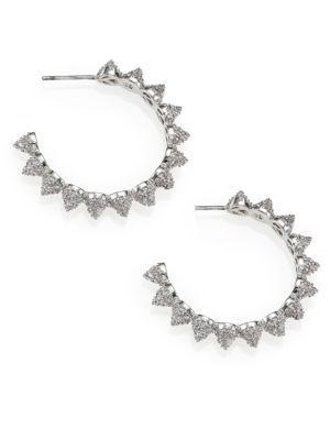 """Eddie Borgo PavÉ Crystal Cone Hoop Earrings/1.25"""" In Silver"""