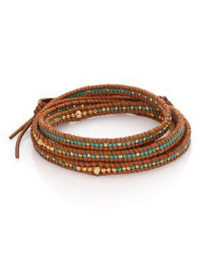 Chan Luu Beaded Leather Multi-row Wrap Bracelet In Brown