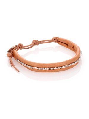 Chan Luu Sterling Silver & Leather Beaded Wrap Bracelet In Silver-tan