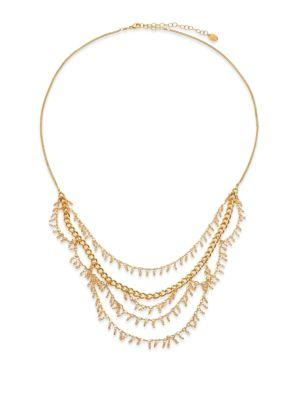 Chan Luu Crystal Charm Draped Multi-row Necklace In Gold