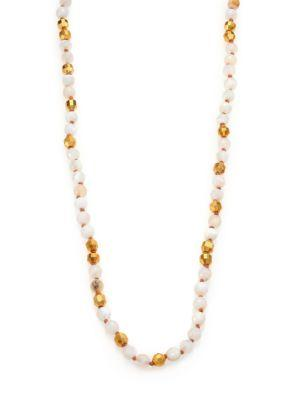 Chan Luu Mother-of-pearl & Opal Long Beaded Strand Necklace In Gold-white