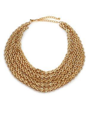 Kenneth Jay Lane Multi-row Link Bib Necklace In Gold