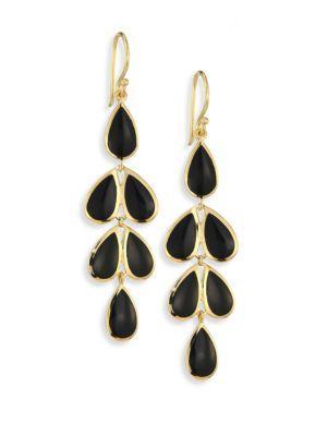 Ippolita Polished Rock Candy® Black Onyx & 18k Yellow Gold Teardrop Cascade Earrings In Gold-black
