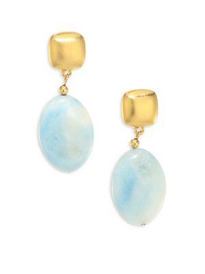 Kenneth Jay Lane Beaded Teardrop Earrings In Gold-blue