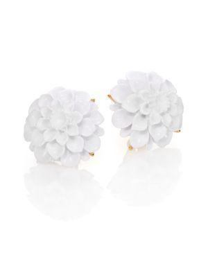 Kenneth Jay Lane Flower Resin Clip-on Earrings In Gold-white