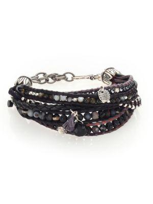 Chan Luu Pyrite, Brown Sardonyx, Abalone, Labradorite & Leather Multi-strand Bracelet In Olive Mix