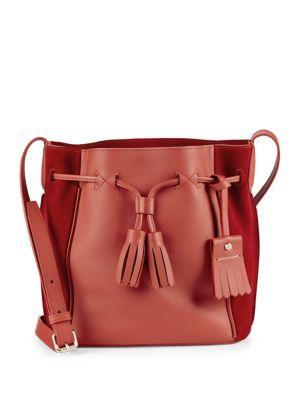Longchamp Penelope Leather Shoulder Bag In Red