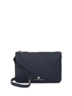 Vince Camuto Samba Textured Leather Clutch In Navy