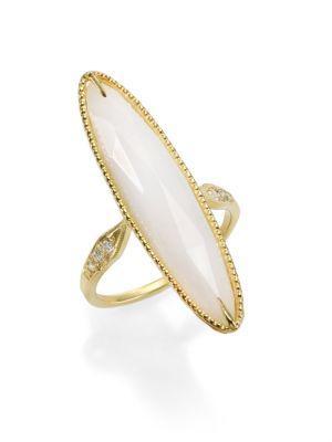 Ila Lorena White Agate, Diamond & 14k Yellow Gold Long Oval Ring In Gold-agate