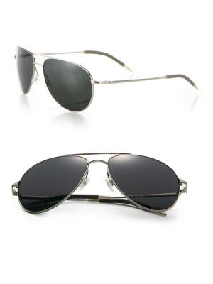 Oliver Peoples Benedict 59mm Graphite Aviator Sunglasses In Silver