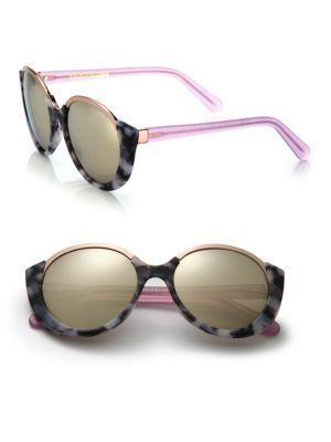 Cutler And Gross 1202 Mai Tai 55mm Acetate & Metal Sunglasses In Cloudy Havana