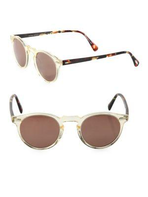 Oliver Peoples Gregory Peck 47mm Round Sunglasses In Brown