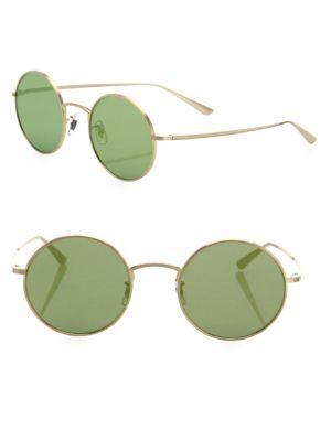 Oliver Peoples The Row For  After Midnight 49mm Mirrored Round Sunglasses In Green