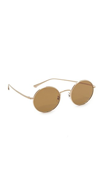 Oliver Peoples The Row For  After Midnight 49mm Round Sunglasses In Brushed Gold/brown
