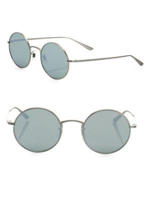 Oliver Peoples The Row For  After Midnight 49mm Mirrored Round Sunglasses In Silver