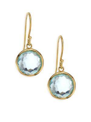 Ippolita Lollipop Blue Topaz & 18k Yellow Gold Mini Drop Earrings In Blue-gold