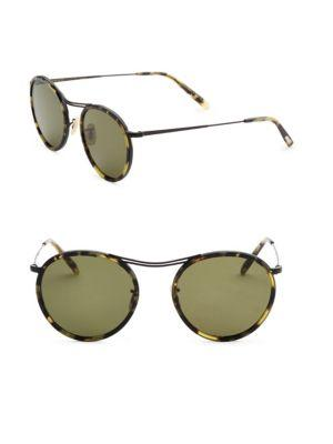 Oliver Peoples 51mm  Round Sunglasses In Black Tortoise
