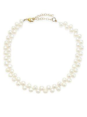 Lele Sadoughi 5mm Freshwater Pearl Checkered Choker In White