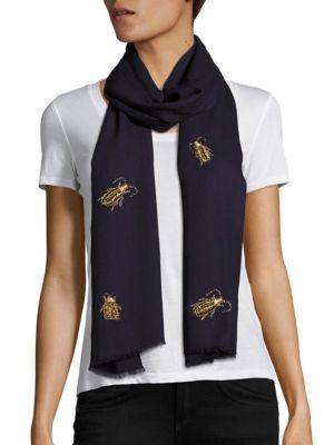 Janavi Bugs Merino Wool Scarf In Navy