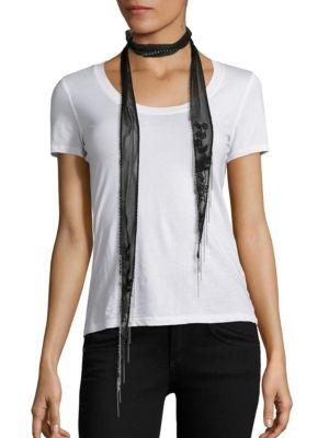 Chan Luu Floral-embroidered Chiffon Long Skinny Scarf In Black