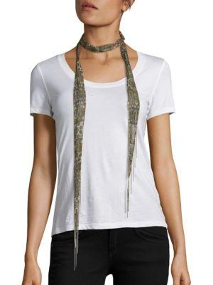 Chan Luu Printed Chiffon Long Skinny Scarf In Ginger Bread