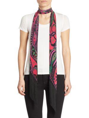 Rockins Flora Classic Skinny Fringed Silk Scarf In Pink-multi