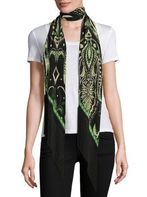 Rockins Prickly Paisley Classic Fringed Silk Scarf In Green-black